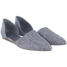 Jenni Kayne Denim D'Orsay Flat ($180) ❤ liked on Polyvore featuring shoes, flats, blue, jenni kayne flats, leather sole shoes, blue denim shoes, flat pumps e flat heel shoes
