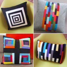 Decorative Pillow - 14x14 - Throw Pillow - Geometric Print Pillow - Cotton Pillow - Recycled Pillow - Multi-color Pillow. $50.00, via Etsy.