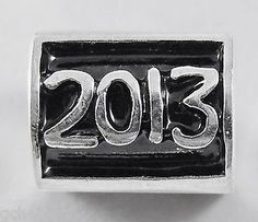 """""""2013"""" Sterling Silver Euro Large Hole Barrel Shaped Story Bead Charm"""