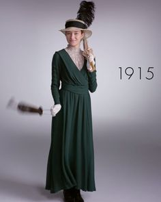 Pin for Later: Watch 1 Woman Wear 100 Years of Fashion Trends in 2 Minutes 1915