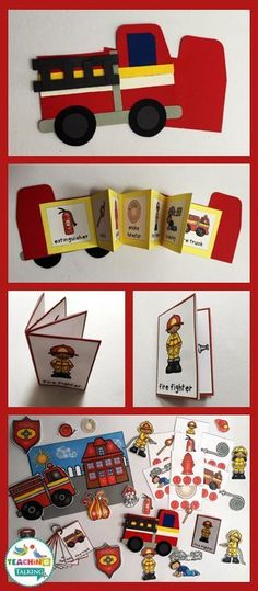 """Try these fun fire safety theme vocabulary activities - includes syllables game, firetruck craft and center activities. Perfect for """"Fire Safety & Prevention Week!"""""""