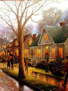 """Christmas"" by Thomas Kinkade (Christmas Art Vintage) Thomas Kinkade Art, Thomas Kinkade Christmas, Christmas Scenes, Christmas Art, Vintage Christmas, Illustration Noel, Christmas Illustration, Snow Scenes, Winter Scenes"