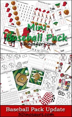 Free Baseball Pack - Over 60 pages of printables for ages 2 to 7.