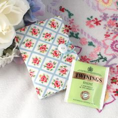 Tea-bag wallet - 'Cath Kidston Rose Trellis' - blue, pink - FREE UK P&P £5.95