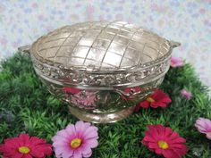Vintage Posy Bowl - Silver Posy Bowl - Silver Plated Vase - Vintage Rose Bowl - Posy Holder - Posy Vase - Rose Bowl - Downton Abbey by MissieMooVintageRoom on Etsy