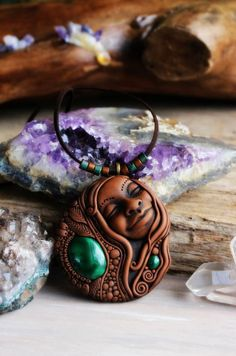 Laughing Goddess with Malachite Gemstone Necklace. Handcrafted Clay and Gemstones.