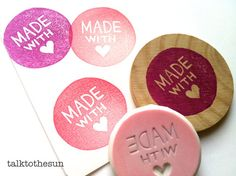 made with love rubber stamp. hand carved rubber door talktothesun