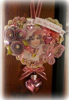 Pink Vintage Inspired Valentine Ornament.