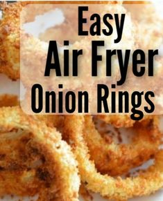 This Easy Air Fryer Onion Rings recipe is a family favorite! They are easy to fix in the air fryer and turn out crisp and delicious every time! It's a great air fryer side dish! Air Fryer Recipes Snacks, Air Fryer Recipes Breakfast, Air Frier Recipes, Air Fryer Dinner Recipes, Snack Recipes, Cooking Recipes, Cooking Tips, Healthy Recipes, Breakfast Dishes