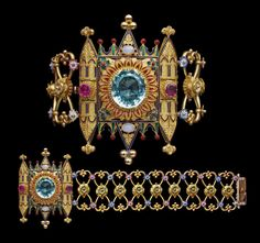 FELIX ROUSSELOT Neo Gothic Cathedral Style Bracelet Gold Enamel Aquamarine Ruby Opal H: 7 cm in) W: cm in) Marks: Ram's head & maker's mark a comet flanked by F R French, Aquamarine cts approx Victorian Jewelry, Antique Jewelry, Vintage Jewelry, Art Nouveau, Wallis Simpson, Jewelry Art, Fine Jewelry, Jewelry Design, Fashion Bracelets