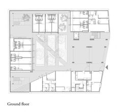Student Residence - Ground floor plan, drawing courtesy LAN Architecture