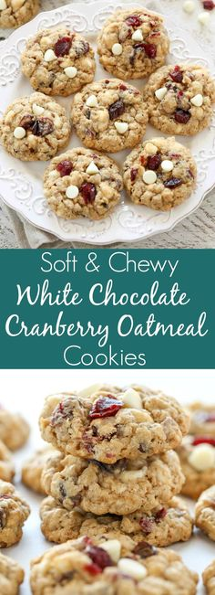Soft and Chewy White Chocolate Cranberry Oatmeal Cookies Easy soft and chewy oatmeal cookies packed with white chocolate chips and dried cranberries. These White Chocolate Cranberry Oatmeal Cookies are a perfect treat for the holidays! Healthy Oatmeal Cookies, Oat Cookies, Oatmeal Cookie Recipes, 100 Cookie Recipe, Simple Oatmeal Cookies, Old Fashioned Oatmeal Cookies, Soft Baked Cookies, Quick Cookies, Cookie Icing