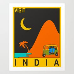 Visit India Art Print by Jazzberry Blue