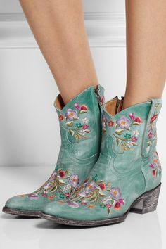 Mexicana Mexicana  MEXICANA Sora embroidered distressed leather ankle boots