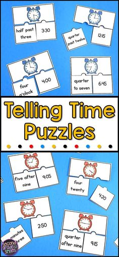 These printable telling time puzzles are a fun, hands-on way for your 1st, 2nd, or 3rd grade students to practice telling time and using related vocabulary. They are perfect for a math centers or early finisher activities! Three levels are included!