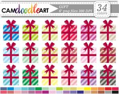 Gift Clipart,Present Clipart,Birthday Clipart,Scrapbooking Clipart,Cardmaking,Planner Clipart, Sticker Clipart,png file by CamDoodleArt on Etsy