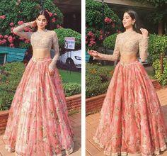 Weddings to attend? 50 celeb-inspired lehengas and saris for you Lehenga Designs, Choli Designs, Bridal Lehenga, Lehenga Choli, Pink Lehenga, Anarkali, Sabyasachi Gown, Saree Gown, Lehenga Blouse