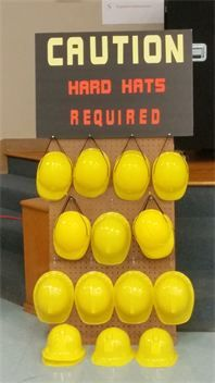 "Handy Manny Party : Handy Manny Construction hats are hanging on our Printed out Board ""Hard Hats Required"""