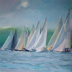 Start of the Regatta, Rhu - At www.TheGlobalArtCompany.com we have Scottish born Ann Armstrong an award winning artist with a beautiful exhibition of original paintings, visit our gallery now.