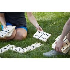 Dominoes is even more fun when played in your backyard!  This outdoor dominoes set includes a drawstring burlap bag for easy storage and transportation.