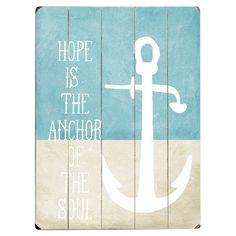 Bring nautical-chic style to your living room or parlor with this charming wood wall decor, featuring an anchor design and typographic motif.