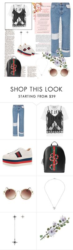 """""""Untitled #27"""" by tatuli-togoxia ❤ liked on Polyvore featuring Current/Elliott, McQ by Alexander McQueen, Gucci, Chanel and Federica Tosi"""