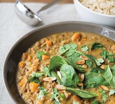 Lentil and ginger stew (use homemade stock, omit garlic)