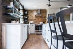 To add balance to all of the warm stained shiplap, we went with white lower cabinetry and countertops.