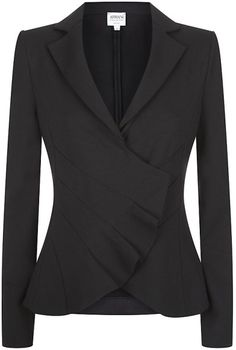 Lyst - Armani Asymmetric Pleated Front Jacket in Black Suit Jackets For Women, Suits For Women, Clothes For Women, Business Attire, Business Fashion, Suit Fashion, Fashion Outfits, Armani Blazer, Mein Style