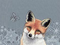 Little Red Fox All Zentangled by Sherry Goeben