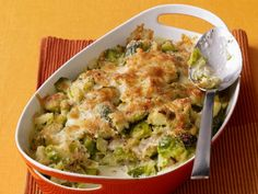 Brussel Sprouts Gratin from Food Network Magazine Sprout Recipes, Veggie Recipes, Cooking Recipes, Healthy Recipes, Hamburger Recipes, Broccoli Recipes, Potato Recipes, Thanksgiving Vegetable Sides, Thanksgiving Side Dishes