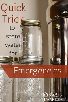 Super Quick Tip for Storing Water for Emergencies Quick Trick to Store Water for Emergencies. trick - takes no time and practically no space. Includes instructions for how to safely DRINK your stored water, since it actually does go bad in time. Emergency Preparedness Kit, Emergency Preparation, Emergency Supplies, Emergency Food, Emergency Binder, Emergency Planning, Emergency Water, Survival Items, Survival Food