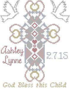 Modern Baptism Cross Stitch Pattern
