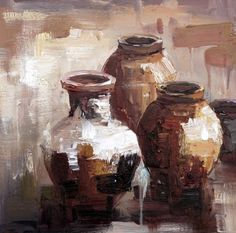 Clay Pots Art | Heavy texture painted with a knife | Oil on canvas | Order any size    Click here to see more: http://www.brushandstrokes.com/art-gallery/product/796                                                                                                                                                      Más