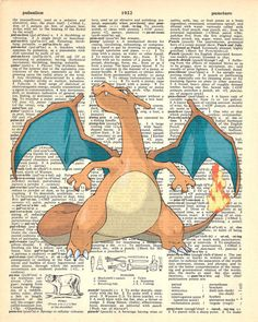 Charizard Pokemon Dictionary Art Print by MollyMuffinsPrints