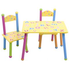 Kids Alphabet Table & Chairs Set - kids room, playroom, toy room