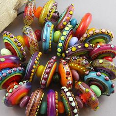 Magma-Beads-Colourful-Disks-Handmade-Lampwork-Beads