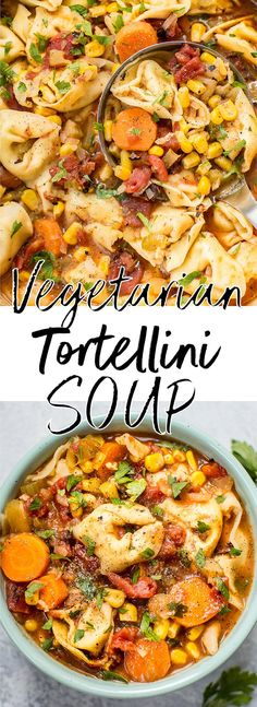 This vegetarian tortellini soup is simple, hearty, cozy, and comforting. A pot of this is ready in only 45 minutes! #tortellinisoup #vegetariansoup #souprecipe