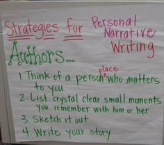 Strategies for Personal Narrative Writing