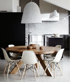 Eames chairs with round table