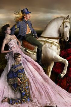 John Galliano & models in Galliano & Dior by John Galliano, by Simon Procter///Vogue