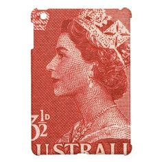Vintage Queen Elizabeth II Australia Postage Stamp iPad Mini Case. Also available on…