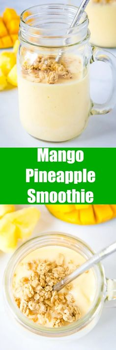 Mango Pineapple Smoothie - this tropical smoothie is a refreshing smoothie full of pineapple, mango, orange and lime juice.  It is like vacation for breakfast!