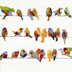 Found it at Wayfair - Revealed Artwork Birds on a Wire II Original Painting on Wrapped Canvas