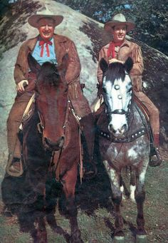 "U.S. Marshal James Butler ""Wild Bill"" Hickok (on the right) played by Guy Madison who rode a horse named Buckshot. That's Andy Devine on the left who played Jingles. His horse was named Joker. Wild Bill Hickok  ran from 1951-1958 and was seen in re-runs after that in a lot of markets."
