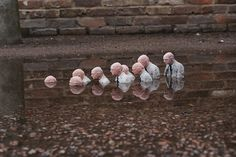 Isaac Cordal is another sculptor of miniature street art working in London. This typically poignant work, Follow the Leader, is from his Cement Eclipses series, placed in a Hackney puddle in 2010