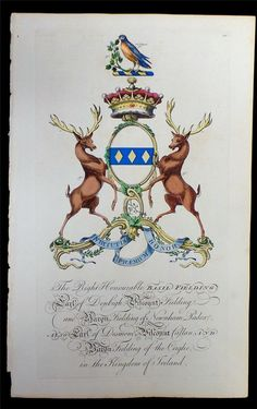 Coat of arms of Basil Feilding (1719–1800), 6th Earl of Denbigh (E 1622) and 5th Earl of Desmond (E 1628), Joseph Edmondson's Baronagium Genealogium, London, 1764-1784.