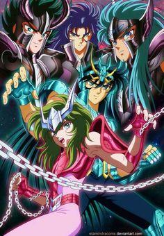 Shura de capricornio, Saga de géminis, Vamos de acuario, Shiryu de dragón y Shun de andromeda   Saint seiya Saga de Hades capitulo Santuario