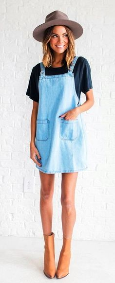 1331c001fe4  summer  outfits Grey Hat + Denim Dress + Black Tee + Camel Leather Booties