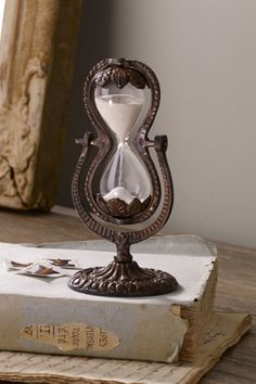 Old style hourglass & book ~ pretty together~❥